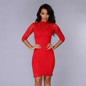 Like new red lace Fashion Nova dress